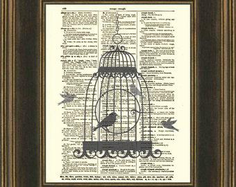 Dictionary Art Print, Bird Cage Print, Bird Silhouette