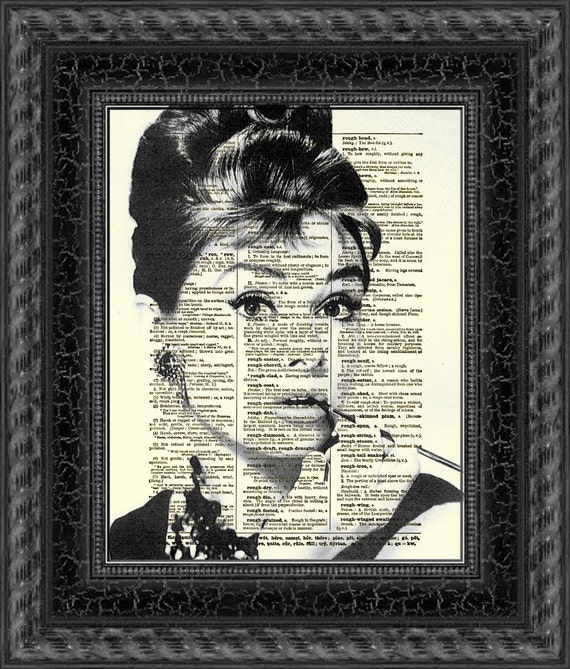 Audrey Hepburn, Breakfast at Tiffany's, Holly Golightly, Art Print, Dictionary Art, Book Art, Wall Decor, Wall Art, Mixed Media Collage