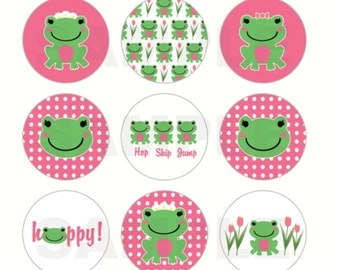 INSTANT DOWNLOAD - M2M Gymboree Frog Bottle Cap Images - 4x6 Digital Sheet - 1 Inch Circles for Bottlecaps, Hair Bow Centers, & More