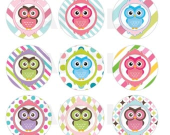 INSTANT DOWNLOAD - Owl Bottle Cap Images - 4x6 Sheet - 1 Inch Circles for Bottlecaps, Hair Bow Centers, & More