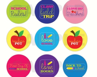 INSTANT DOWNLOAD - Back to School Bottle Cap Images - 4x6 Digital Sheet - 1 Inch Circles for Bottlecaps, Hair Bow Centers, & More