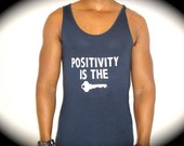 "American Apparel ""POSITIVITY IS The KEY"" Viscose Tank In Midnight Blue"
