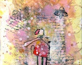 Original Modern Mix media painting with watercolor, collage, acrylic and figure stitched with hand