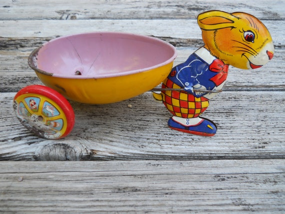 1950's J Chein Toy  Easter Rabbit pulling egg wagon Treasury Pick