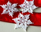 Crochet Snowflakes Christmas Ornament Appliques Set of 3 - GetTangled