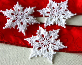 Crochet Snowflakes Christmas Ornament Appliques Set of 3