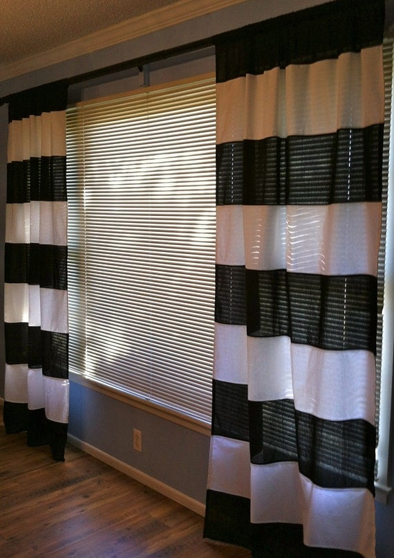 Items similar to black and white horizontal striped Black and white striped curtains