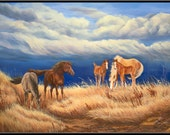 "Wild & Windy 9"" x 6"" Wild Horses in a Storm Print"