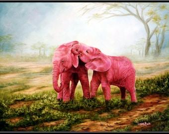 """Pink Elephants 8.5"""" x 6"""" Print"""