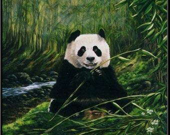 "Bamboo Breakfast 12"" x 15"" Panda Bear Triptych Print"