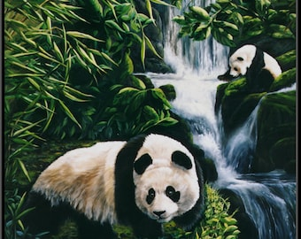 "Chance Meeting 12.5"" x 16.5"" Two Panda Bears Triptych Print"