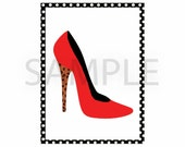 Red and Leopard Print Heel - Fashion  5 x 7 Printable