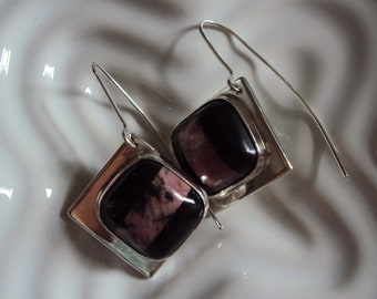 Handmade Sterling Silver Earrings with Hand Cut Stones. One of a kind.
