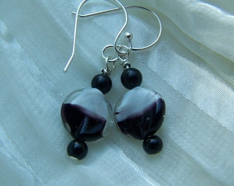 Black and White Vintage german potato chip glass bead earrings.