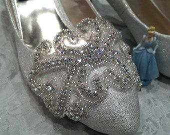 Custom made Cinderella SWAROVSKI crystal silver bridal wedding heels,evening shoes,