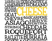 Cheese - Kitchen Print, 14x11 Kitchen Art