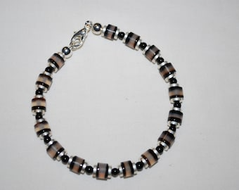 Mens Silver Plated with Black and Gray Agate Bracelet