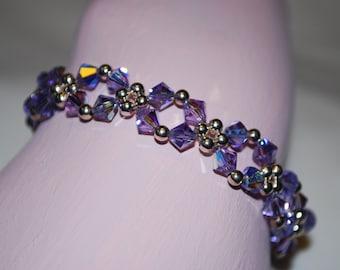 Womens Violet Swarovski Crystal Bracelet