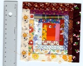 """Five Miniature Log Cabin Quilt Blocks all different, paper-pieced blocks 4.5"""" x 4.5"""", All Handmade in Texas USA with cotton fabrics"""
