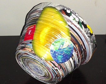 Large Upcycled Magazine Bowl with collage including avocado, tiger, globe, and bird