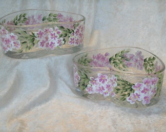 PINK HYDRANGEA candy dishes heart shaped set of two