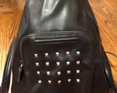 Black Leather Studded Backpack/Purse