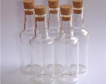 "5 16ml Clear Glass Mini Bottle Vial w/ Corks 2.75"" Tall"