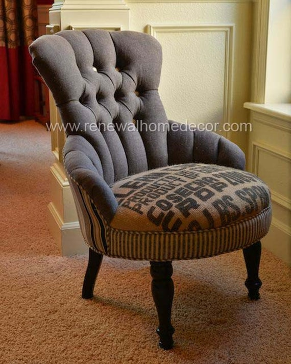 "Custom Order - Vintage accent chair - ""Clean Coffee"" - SOLD"