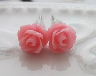 Mini Bubblegum Pink Rose Earrings