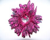 Pink Zebra 4 Inch Flower Clip