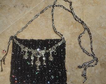 HANDKNIT BEADED BAG    by DawnaGirl     Black and Silver    Crossbody   iPhone Case     Eyeglass case