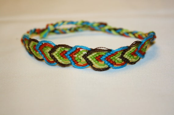 handmade 10 string multi colored alternating leaf pattern