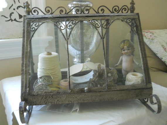 Cathedral windowed terrarium farmhouse display