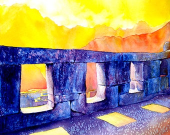 Temple of Three Windows at Incan ruins of Machu Picchu at sunset- Inca Trail, Peru.  Watercolor Machu Picchu art original painting landscape