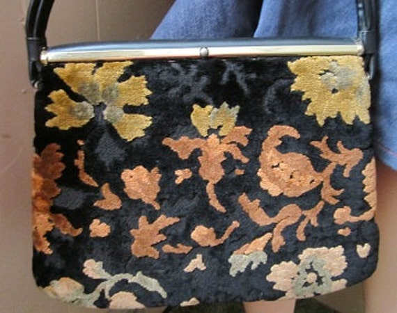 vtg 1960's carpet bag autumn colors perfect condition gold orange black green Fall Sale