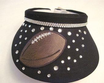 Black Visor with decorative Football and clear rhinestones.  2012044