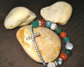Cross Bracelet with Silver Cross