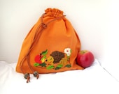 Handmade embroidered orange lunch bag for child.Funny