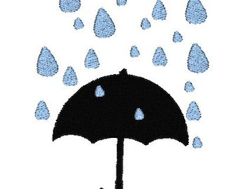 Silhouette Rainy Umbrella Machine Embroidery Design, Spring embroidery design, rainy embroidery, umbrella embroidery design, rain design
