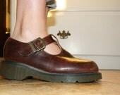RARE Vintage Classic Brown Leather T-strap  Doc Martens Size 7- 7 1/2