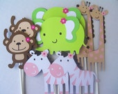 Jungle Jill Animal Toppers-Set of 8 Medium Baby Shower/Party Decorations
