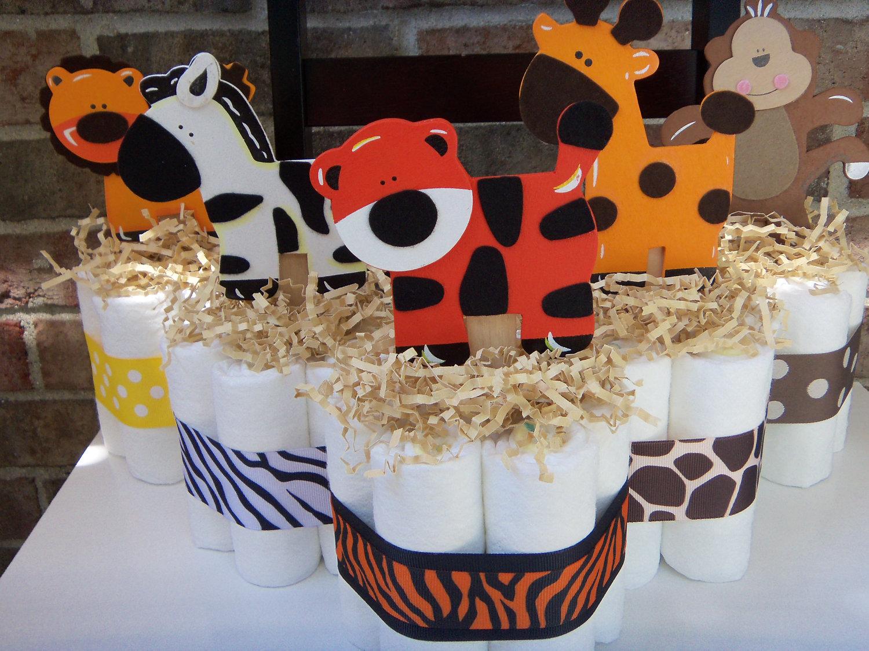 Jungle diaper cakes w animal print ribbon set of 5 small - Cheetah print centerpieces ...