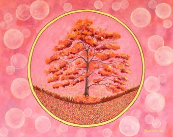 Original Oil Painting Passionate Pink Bubble Circles Tree Large Canvas Abstract Eclectic Decor
