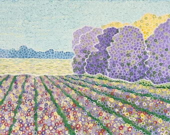 "Landscape Painting Flower Garden Painting Original Colorful Painting Flowers Impressionist Art and Painting Lavender CANVAS 14"" x 11"""