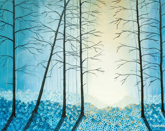 Landscape Tree Painting Impressionist Original Oil Textured Blue Wall Decor, Art, Blue Painting Gift  Large Canvas, Art by Glorianna