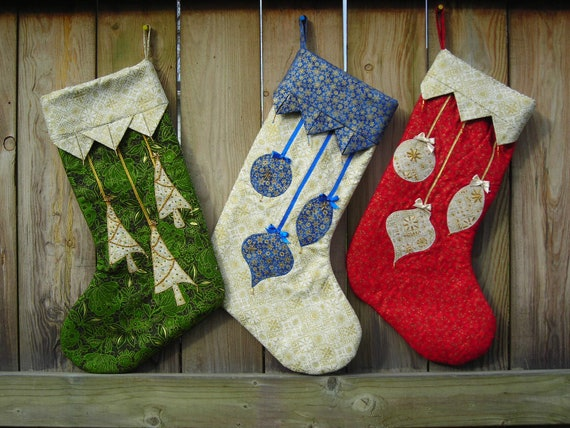 Quilted Christmas Stocking with Hand Beading