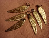 """6 Large 2 3/8"""" Metal Feather Charms Pendants"""