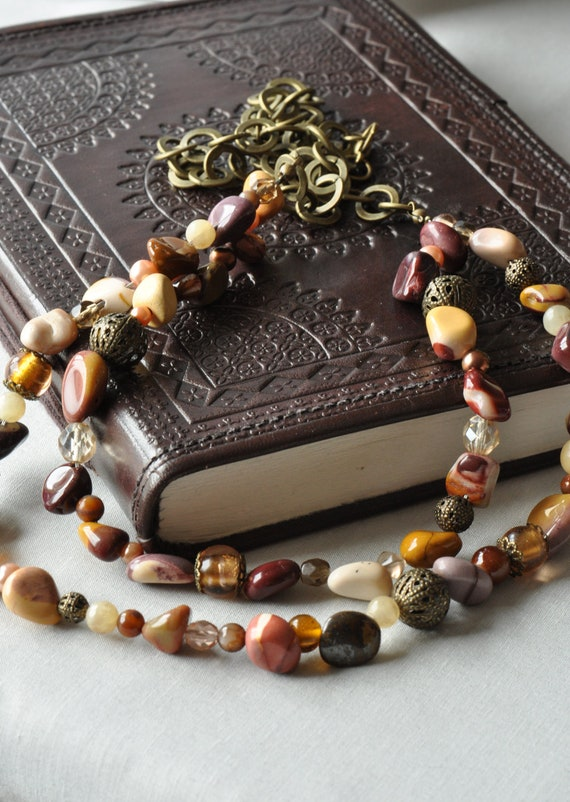 Mookaite & Glass Bead Mix with Antique Gold Chain Necklace UK Seller