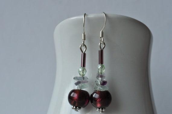 Amethyst Foil Glass, Flourite Chip & Peridot Czech Glass Bead Earrings UK Seller