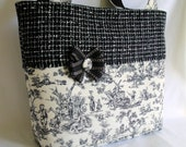 Medium Toile Tote Bag Purse Black White Bow